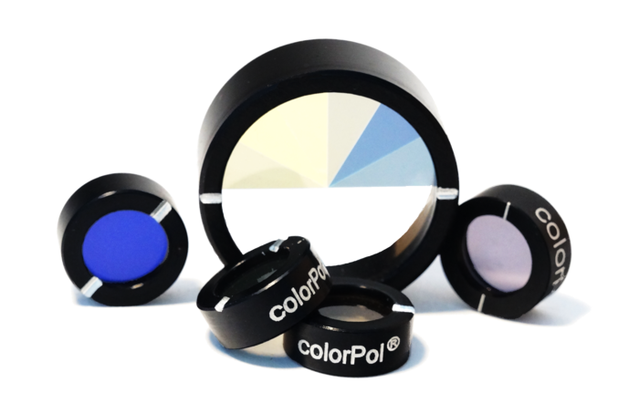 Round, mounted colorPol® polarizers